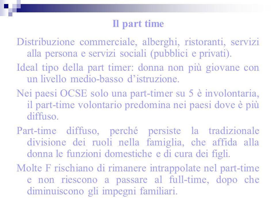 Il part time Distribuzione commerciale, alberghi, ristoranti, servizi alla persona e servizi sociali (pubblici e privati). Ideal tipo della part timer