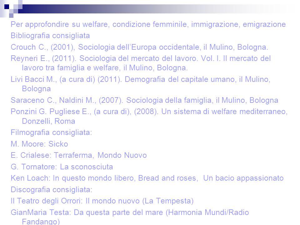 Per approfondire su welfare, condizione femminile, immigrazione, emigrazione Bibliografia consigliata Crouch C., (2001), Sociologia dell'Europa occide