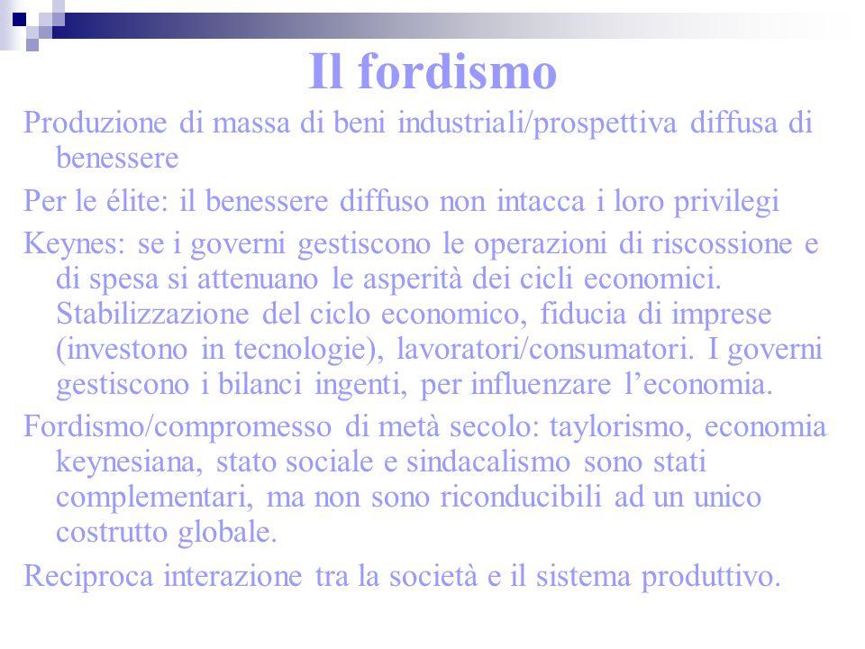 Il fordismo Produzione di massa di beni industriali/prospettiva diffusa di benessere Per le élite: il benessere diffuso non intacca i loro privilegi K