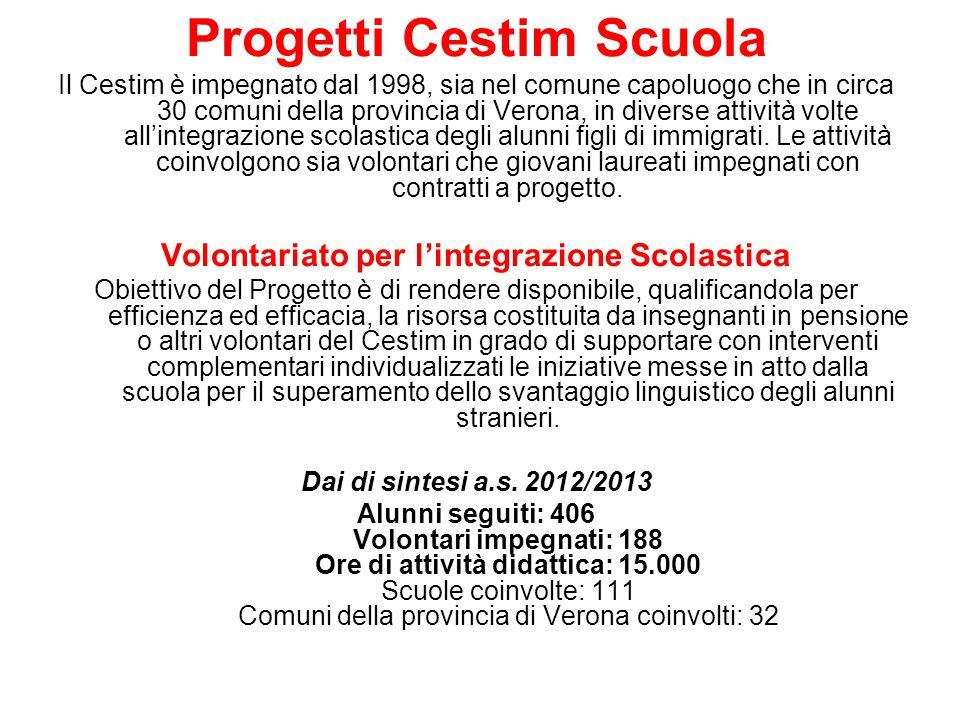 Progetti Cestim Scuola Il Cestim è impegnato dal 1998, sia nel comune capoluogo che in circa 30 comuni della provincia di Verona, in diverse attività