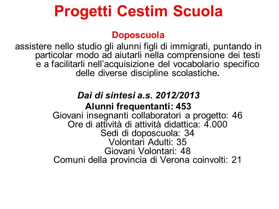 Progetti Cestim Scuola Corsi estivi di italiano per alunni stranieri Dal 2000, in estate, il Cestim organizza laboratori di lingua italiana per bambini e ragazzi figli di immigrati dai 7 ai 18 anni.
