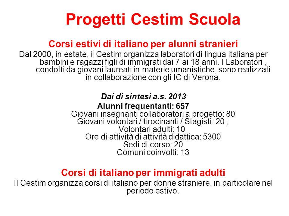 Progetti Cestim Scuola Corsi estivi di italiano per alunni stranieri Dal 2000, in estate, il Cestim organizza laboratori di lingua italiana per bambin