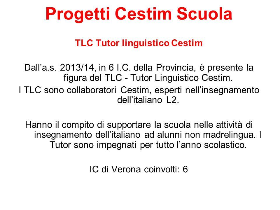 Progetti Cestim Scuola TLC Tutor linguistico Cestim Dall'a.s. 2013/14, in 6 I.C. della Provincia, è presente la figura del TLC - Tutor Linguistico Ces