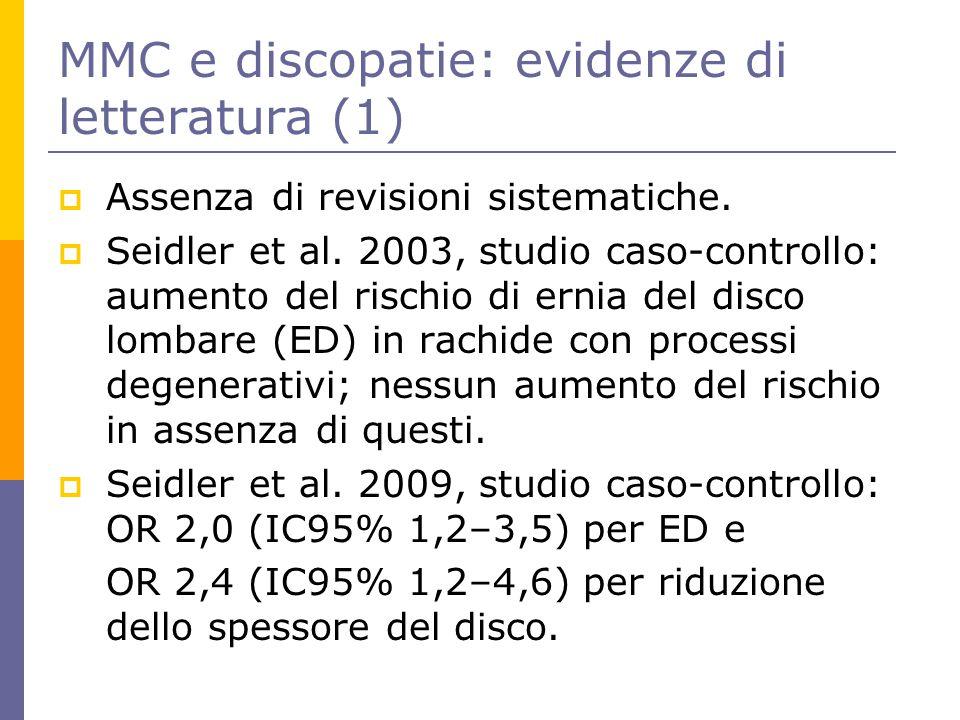 MMC e discopatie: evidenze di letteratura (1)  Assenza di revisioni sistematiche.  Seidler et al. 2003, studio caso-controllo: aumento del rischio d
