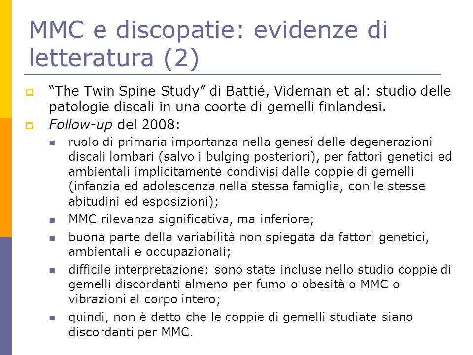 "MMC e discopatie: evidenze di letteratura (2)  ""The Twin Spine Study"" di Battié, Videman et al: studio delle patologie discali in una coorte di gemel"