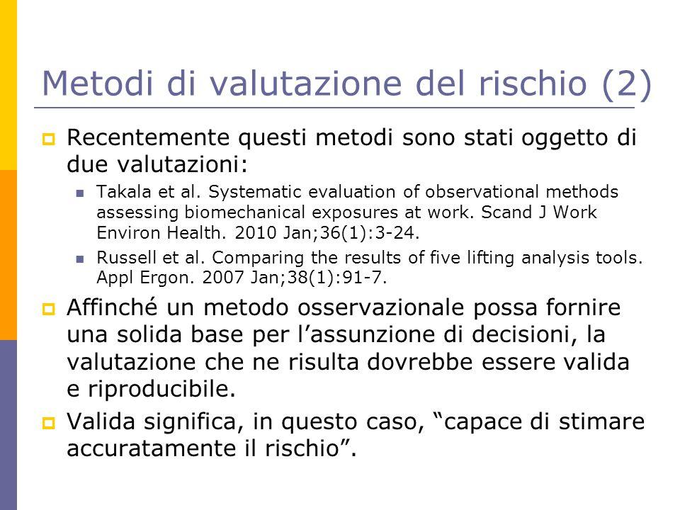 Metodi di valutazione del rischio (2)  Recentemente questi metodi sono stati oggetto di due valutazioni: Takala et al. Systematic evaluation of obser