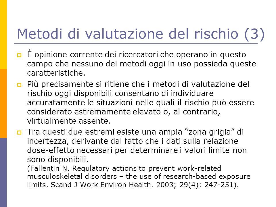 Metodi di valutazione del rischio (3)  È opinione corrente dei ricercatori che operano in questo campo che nessuno dei metodi oggi in uso possieda qu
