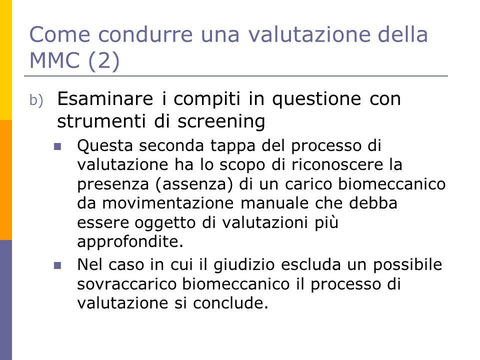 Come condurre una valutazione della MMC (2) b) Esaminare i compiti in questione con strumenti di screening Questa seconda tappa del processo di valuta