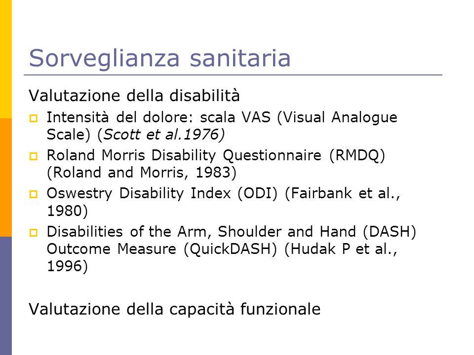 Sorveglianza sanitaria Valutazione della disabilità  Intensità del dolore: scala VAS (Visual Analogue Scale) (Scott et al.1976)  Roland Morris Disab