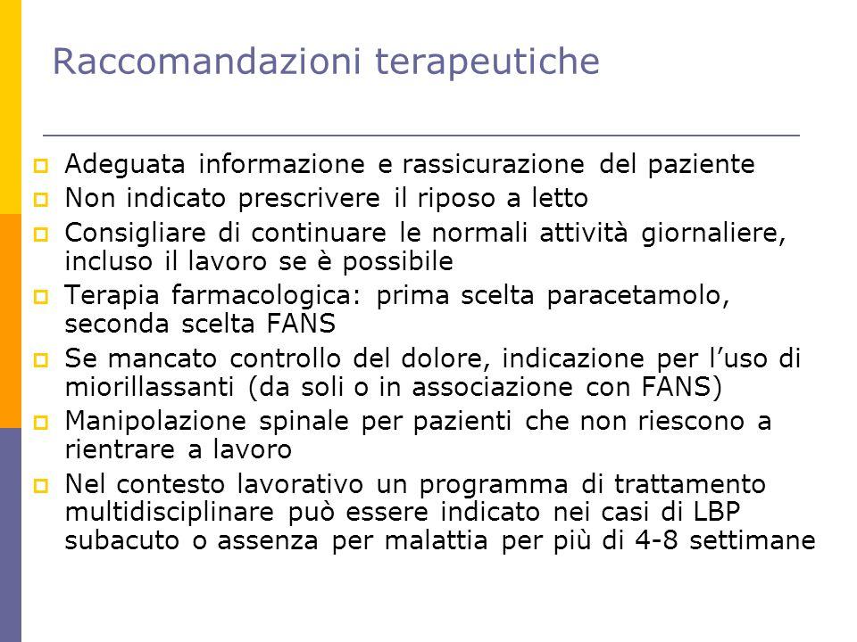 Raccomandazioni terapeutiche  Adeguata informazione e rassicurazione del paziente  Non indicato prescrivere il riposo a letto  Consigliare di conti
