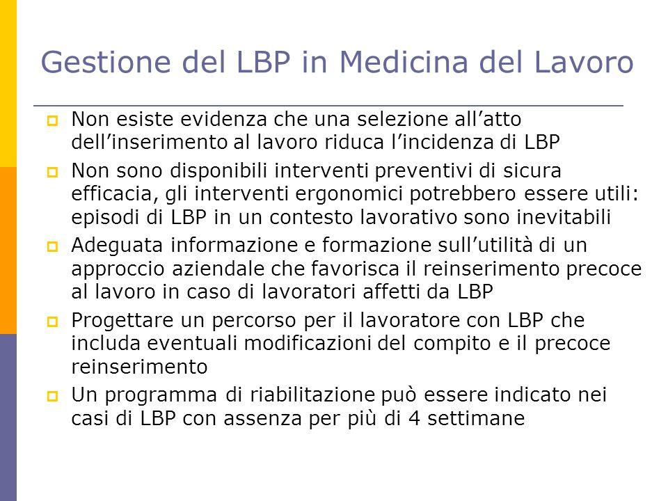 Gestione del LBP in Medicina del Lavoro  Non esiste evidenza che una selezione all'atto dell'inserimento al lavoro riduca l'incidenza di LBP  Non so