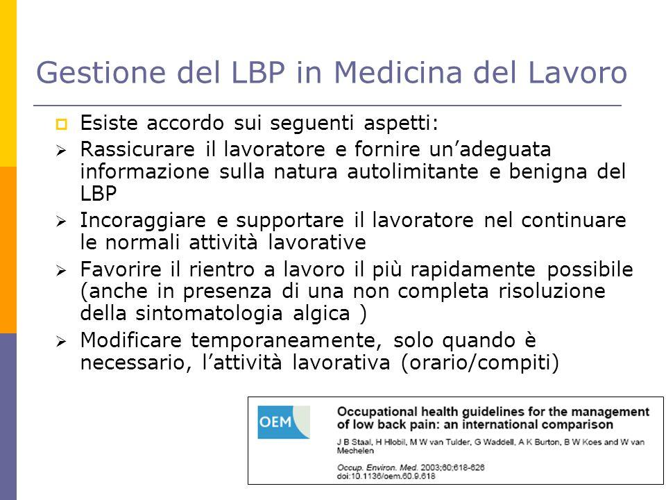 Gestione del LBP in Medicina del Lavoro  Esiste accordo sui seguenti aspetti:  Rassicurare il lavoratore e fornire un'adeguata informazione sulla na