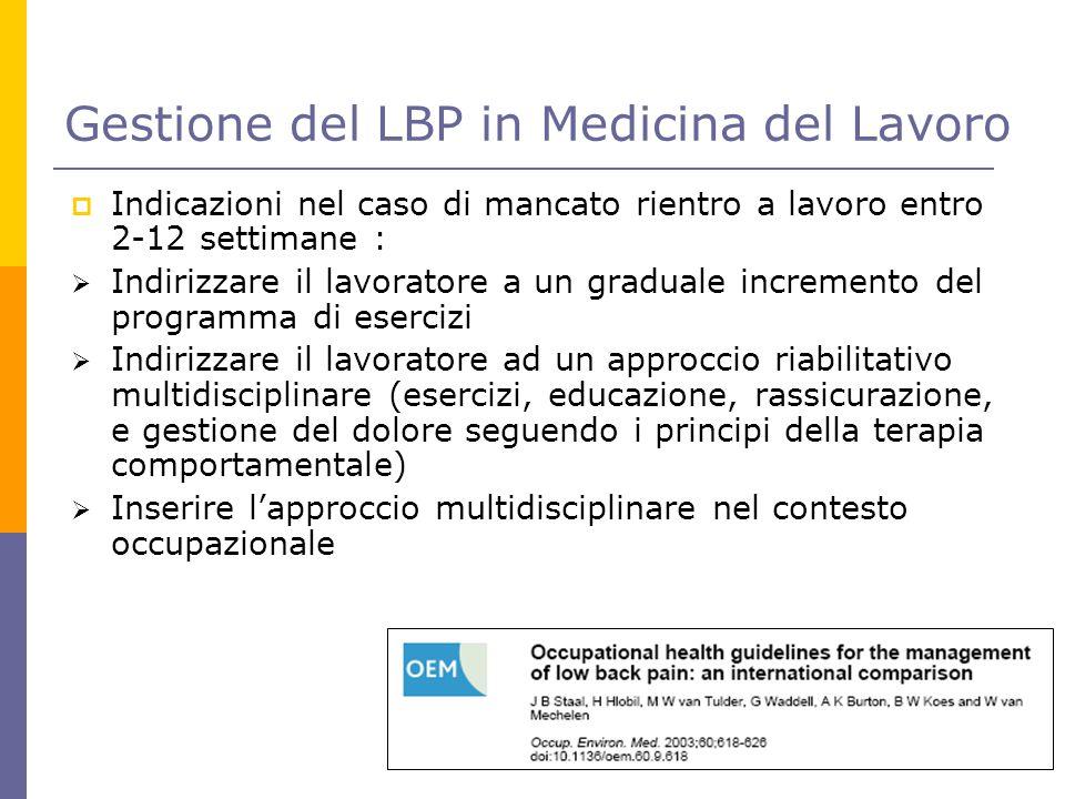 Gestione del LBP in Medicina del Lavoro  Indicazioni nel caso di mancato rientro a lavoro entro 2-12 settimane :  Indirizzare il lavoratore a un gra