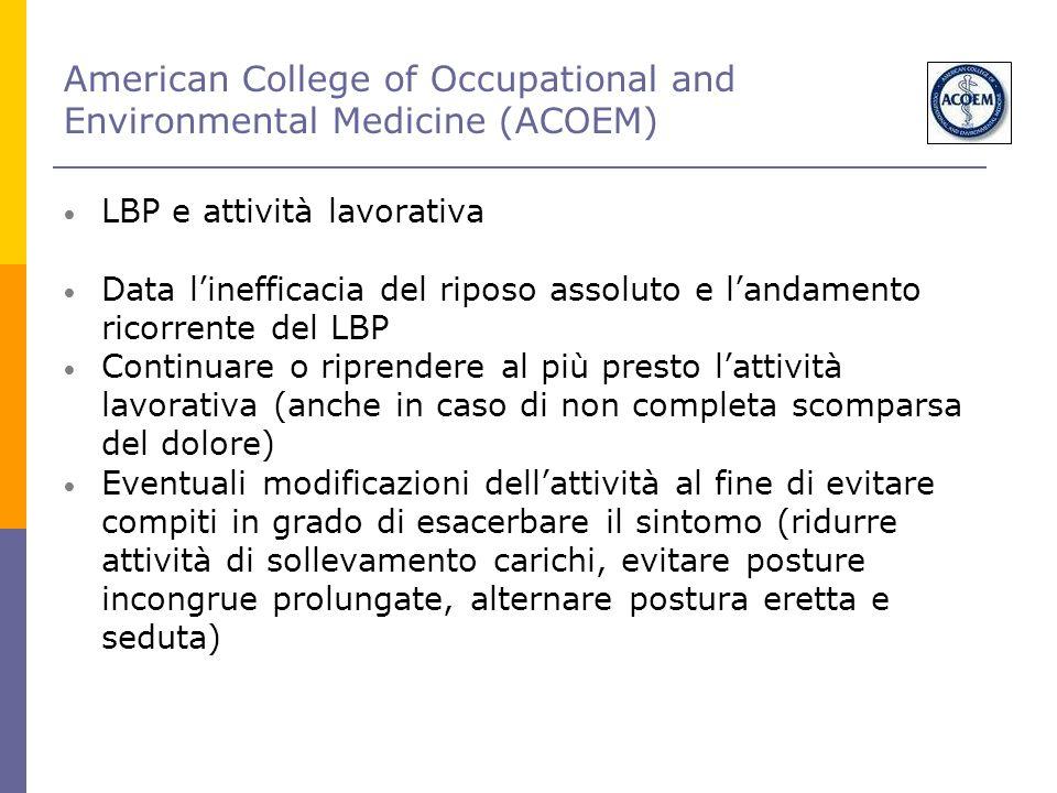 American College of Occupational and Environmental Medicine (ACOEM) LBP e attività lavorativa Data l'inefficacia del riposo assoluto e l'andamento ric