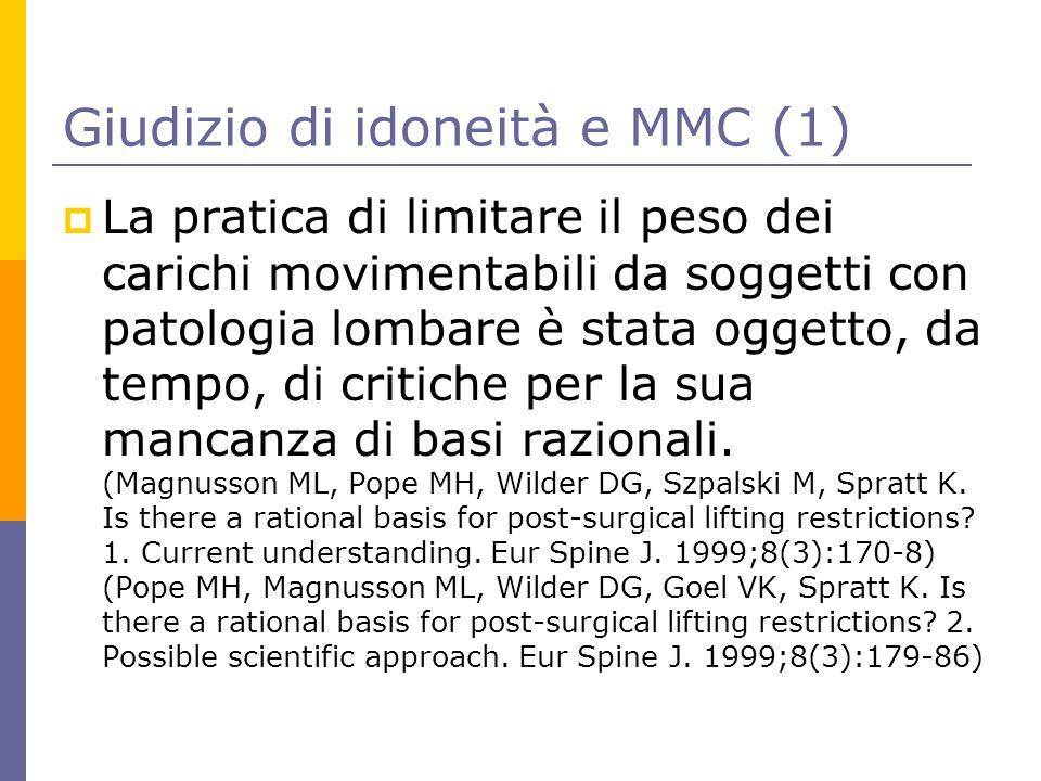 Giudizio di idoneità e MMC (1)  La pratica di limitare il peso dei carichi movimentabili da soggetti con patologia lombare è stata oggetto, da tempo,