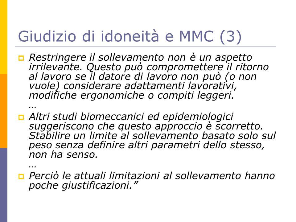 Giudizio di idoneità e MMC (3)  Restringere il sollevamento non è un aspetto irrilevante. Questo può compromettere il ritorno al lavoro se il datore