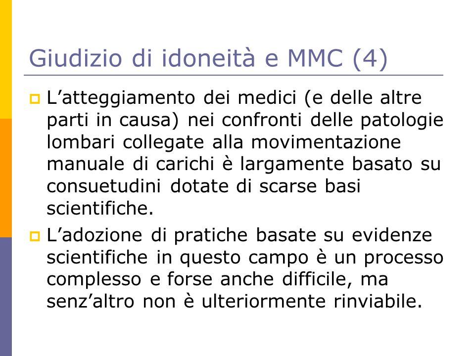 Giudizio di idoneità e MMC (4)  L'atteggiamento dei medici (e delle altre parti in causa) nei confronti delle patologie lombari collegate alla movime