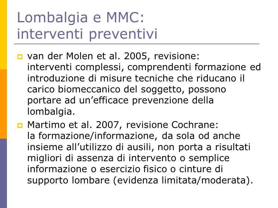 Lombalgia e MMC: interventi preventivi  van der Molen et al. 2005, revisione: interventi complessi, comprendenti formazione ed introduzione di misure