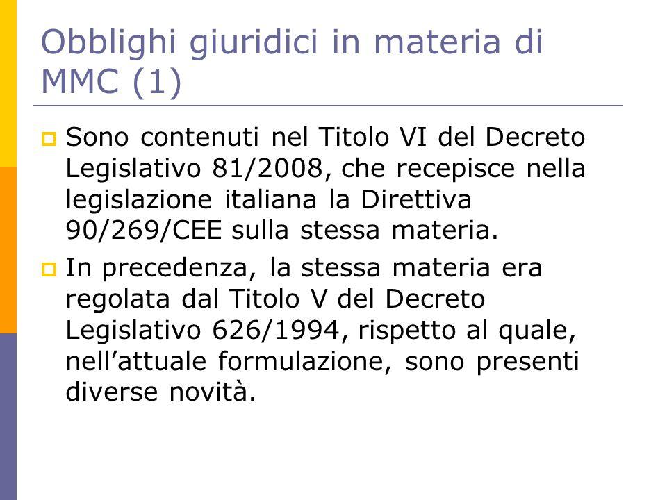 Obblighi giuridici in materia di MMC (1)  Sono contenuti nel Titolo VI del Decreto Legislativo 81/2008, che recepisce nella legislazione italiana la