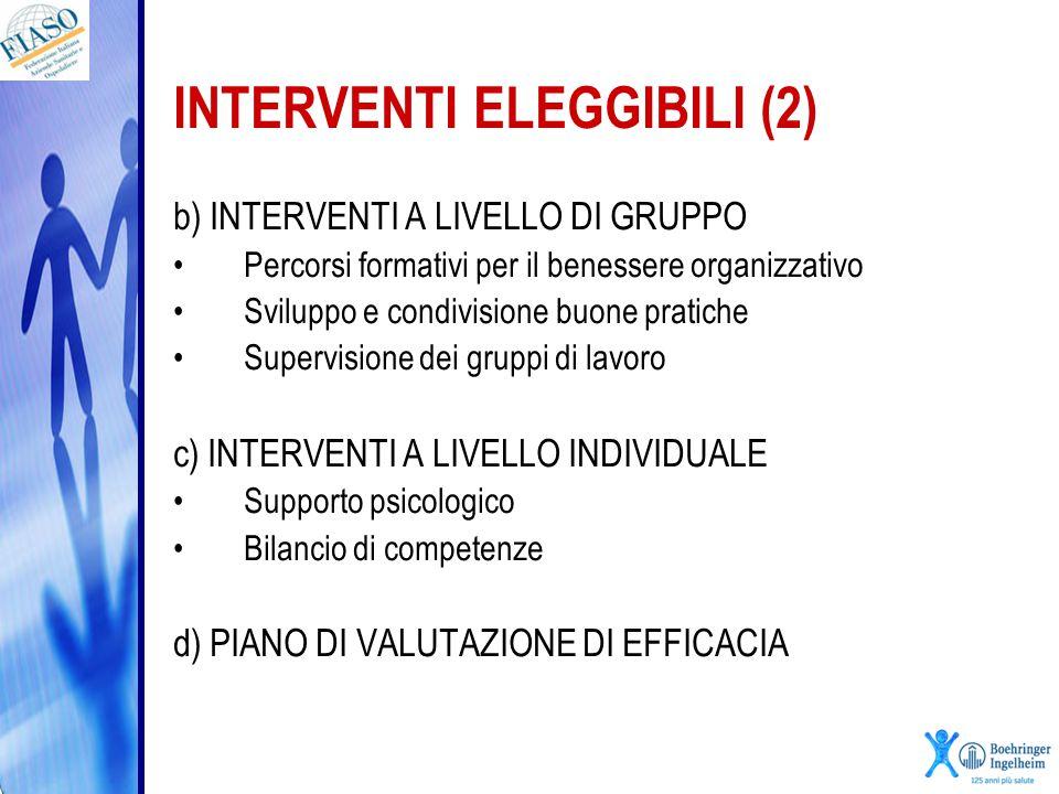 INTERVENTI ELEGGIBILI (2) b) INTERVENTI A LIVELLO DI GRUPPO Percorsi formativi per il benessere organizzativo Sviluppo e condivisione buone pratiche S
