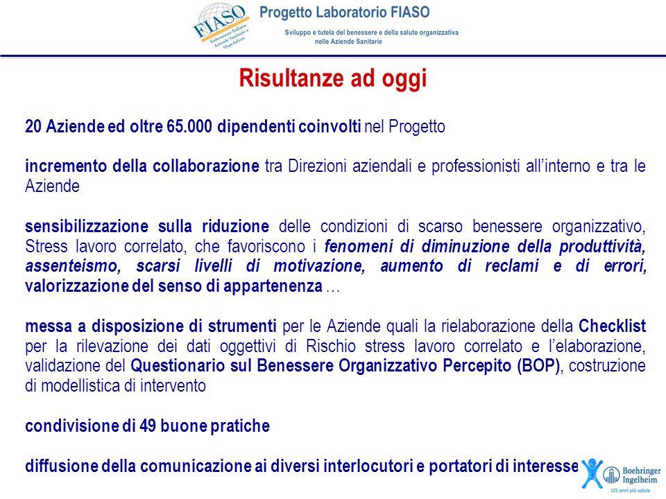 20 Aziende ed oltre 65.000 dipendenti coinvolti nel Progetto incremento della collaborazione tra Direzioni aziendali e professionisti all'interno e tr