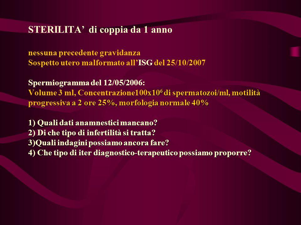 x10 6 di spermatozoi/ml, motilità progressiva a 2 ore 25%, morfologia normale 40% 1) Quali dati anamnestici mancano? 2) Di che tipo di infertilità si