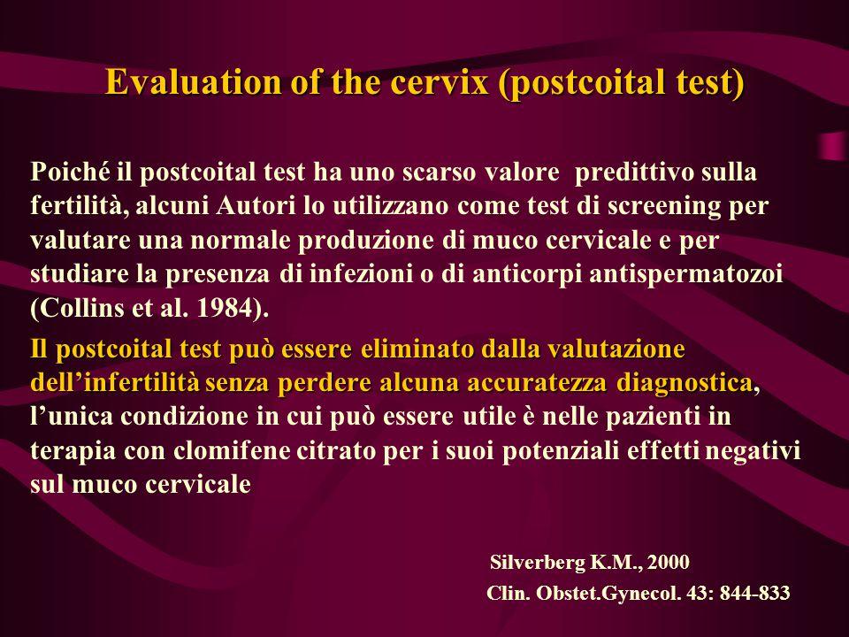 Evaluation of the cervix (postcoital test) Poiché il postcoital test ha uno scarso valore predittivo sulla fertilità, alcuni Autori lo utilizzano come