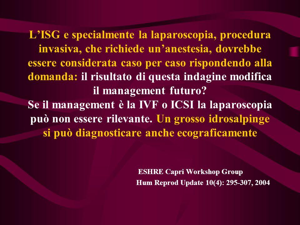 L'ISG e specialmente la laparoscopia, procedura invasiva, che richiede un'anestesia, dovrebbe essere considerata caso per caso rispondendo alla domand