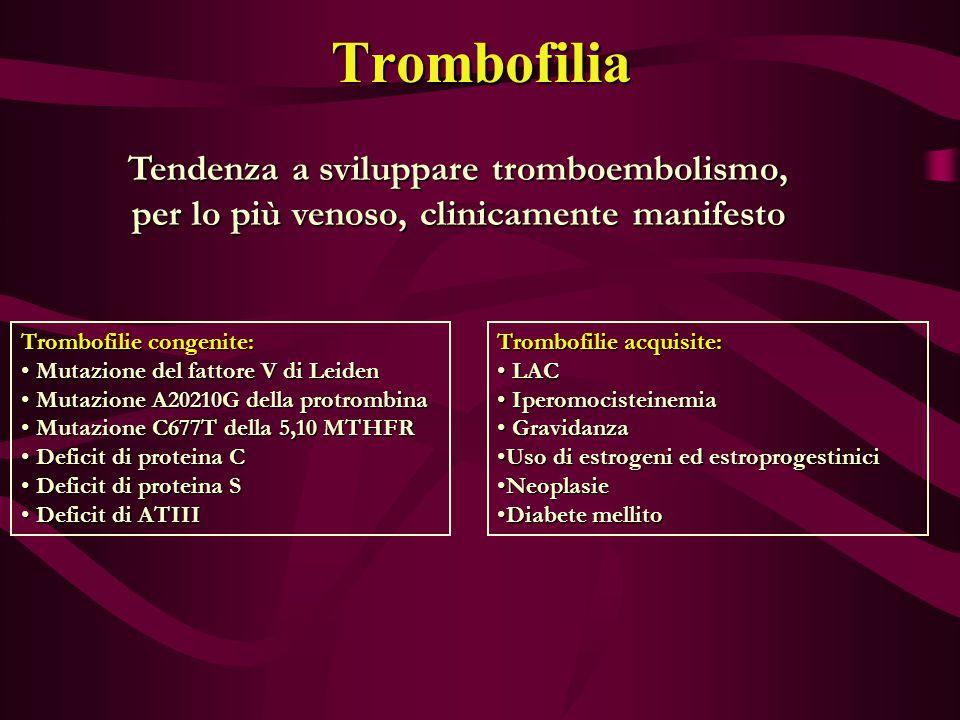 Trombofilia Tendenza a sviluppare tromboembolismo, per lo più venoso, clinicamente manifesto Trombofilie congenite: Mutazione del fattore V di Leiden