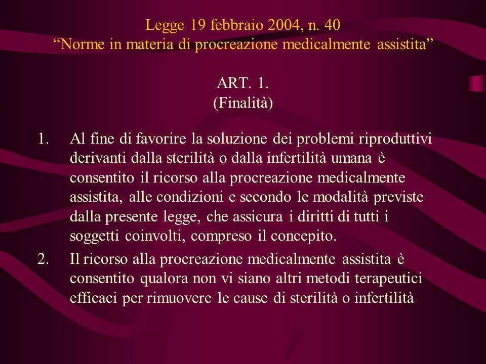 """Legge 19 febbraio 2004, n. 40 """"Norme in materia di procreazione medicalmente assistita"""" ART. 1. (Finalità) 1.Al fine di favorire la soluzione dei prob"""