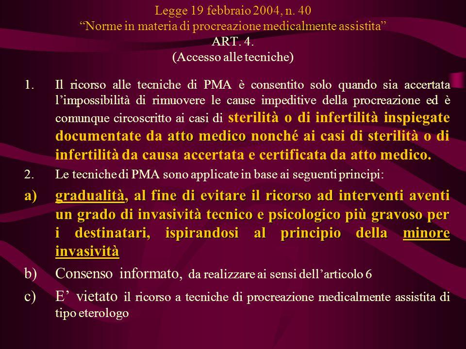 """Legge 19 febbraio 2004, n. 40 """"Norme in materia di procreazione medicalmente assistita"""" ART. 4. (Accesso alle tecniche) atto medico 1.Il ricorso alle"""