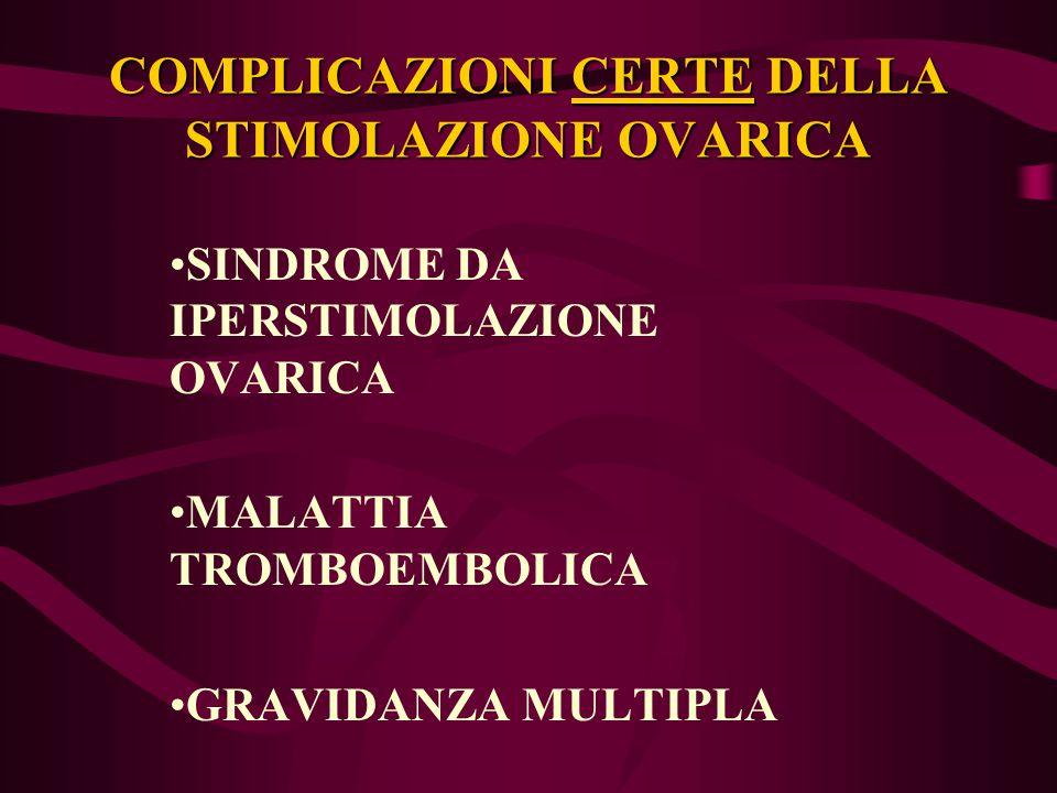 COMPLICAZIONI CERTE DELLA STIMOLAZIONE OVARICA SINDROME DA IPERSTIMOLAZIONE OVARICA MALATTIA TROMBOEMBOLICA GRAVIDANZA MULTIPLA