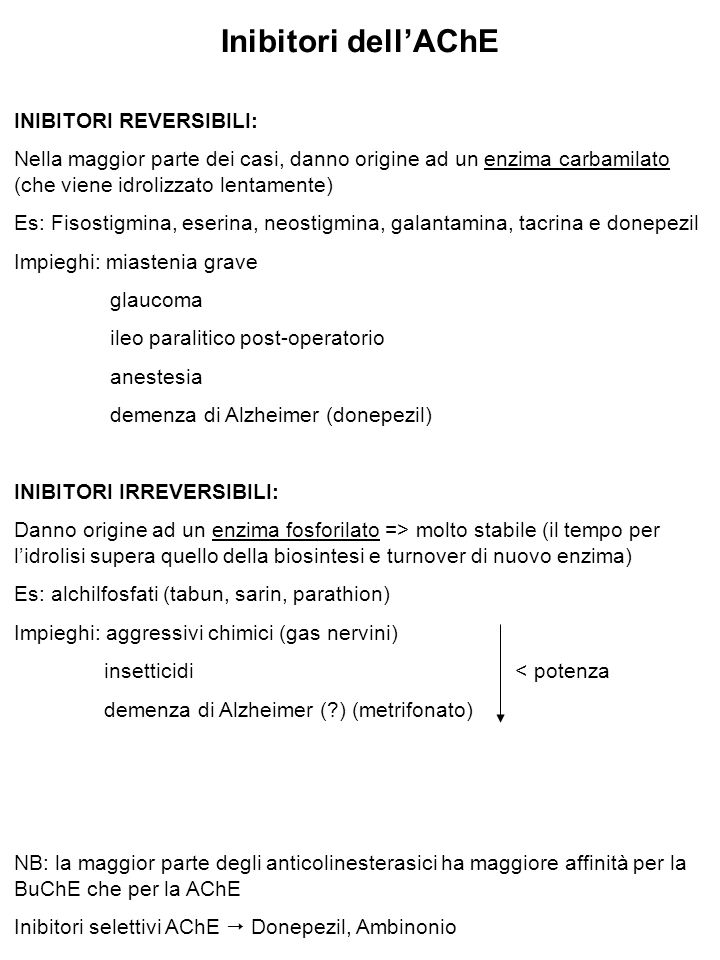Inibitori dell'AChE INIBITORI REVERSIBILI: Nella maggior parte dei casi, danno origine ad un enzima carbamilato (che viene idrolizzato lentamente) Es: Fisostigmina, eserina, neostigmina, galantamina, tacrina e donepezil Impieghi: miastenia grave glaucoma ileo paralitico post-operatorio anestesia demenza di Alzheimer (donepezil) INIBITORI IRREVERSIBILI: Danno origine ad un enzima fosforilato => molto stabile (il tempo per l'idrolisi supera quello della biosintesi e turnover di nuovo enzima) Es: alchilfosfati (tabun, sarin, parathion) Impieghi: aggressivi chimici (gas nervini) insetticidi < potenza demenza di Alzheimer (?) (metrifonato) NB: la maggior parte degli anticolinesterasici ha maggiore affinità per la BuChE che per la AChE Inibitori selettivi AChE  Donepezil, Ambinonio