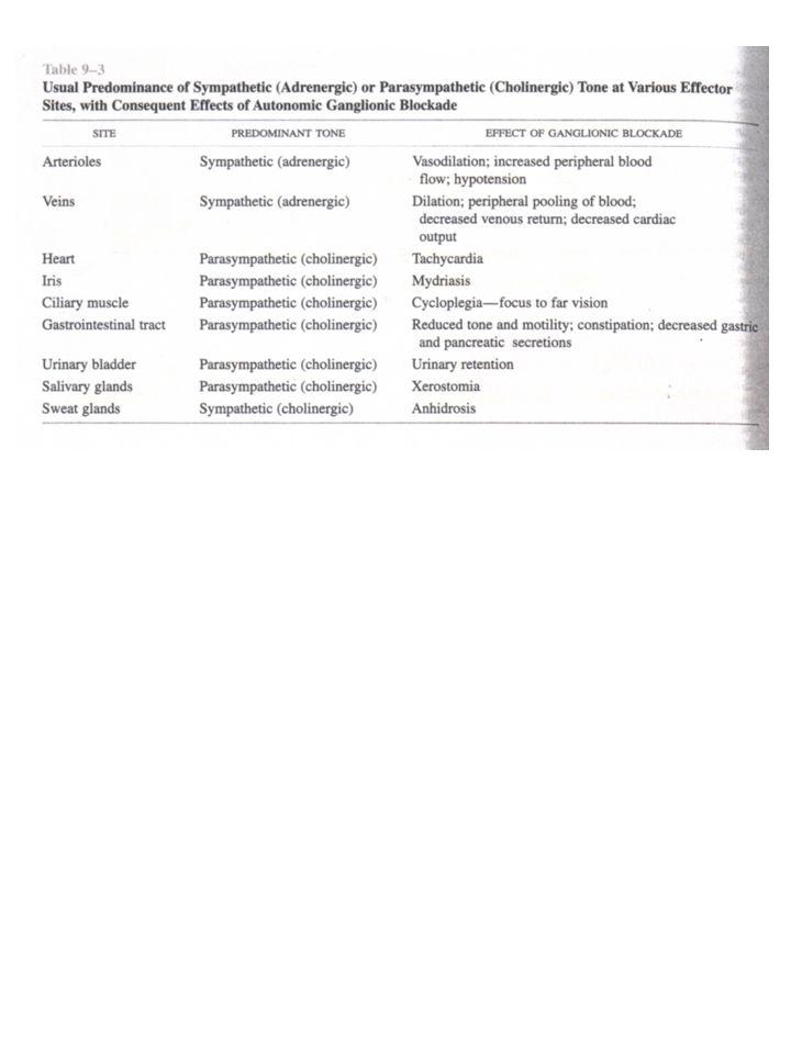 RECETTORI MUSCARINICI Localizzazione: organi innervati dal parasimpatico gangli simpatici (=> eccitazione lenta) SNC 5 sottotipi: M1  M5 Recettori accoppiati a proteine G => monomeri 7TM ad  -elica N-term extracellulare C-term intracellulare Legame con l'ACh: tasca al centro dell'anello formato dai 7TM M1 (nervoso) M2 (cardiaco) M3 (ghiandolare) M4 M5 SNC Gangli G q/11 Cell parietali gastriche CUORE G i/0 SNC (presinaptico) Ghiandole esocrine Musc liscia G q/11 Endotelio SNC Polmone G i/0 Utero SNC G q/11
