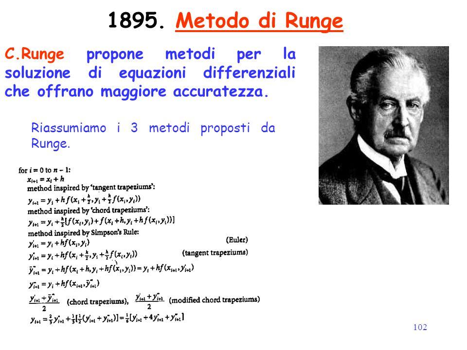 102 1895. Metodo di Runge C.Runge propone metodi per la soluzione di equazioni differenziali che offrano maggiore accuratezza. Riassumiamo i 3 metodi