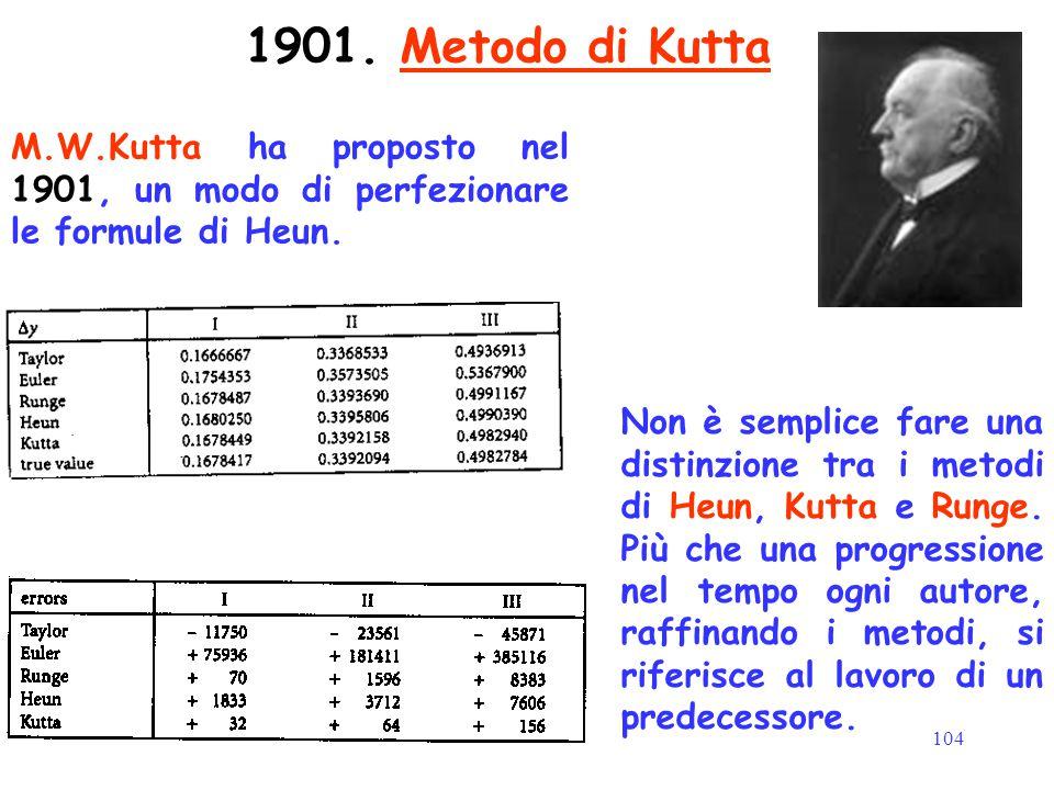 104 1901. Metodo di Kutta M.W.Kutta ha proposto nel 1901, un modo di perfezionare le formule di Heun. Non è semplice fare una distinzione tra i metodi