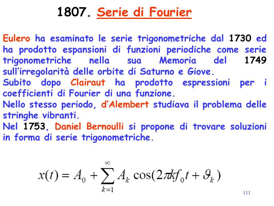 111 1807. Serie di Fourier Eulero ha esaminato le serie trigonometriche dal 1730 ed ha prodotto espansioni di funzioni periodiche come serie trigonome