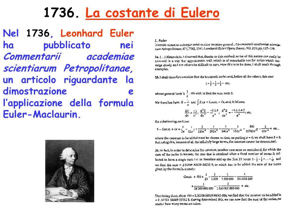 117 1736. La costante di Eulero Nel 1736, Leonhard Euler ha pubblicato nei Commentarii academiae scientiarum Petropolitanae, un articolo riguardante l
