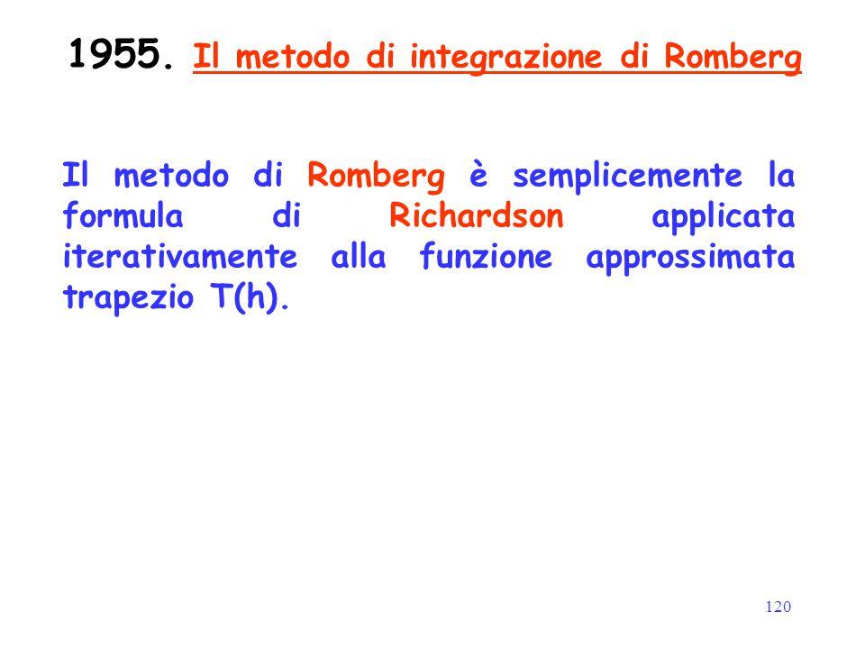 120 1955. Il metodo di integrazione di Romberg Il metodo di Romberg è semplicemente la formula di Richardson applicata iterativamente alla funzione ap