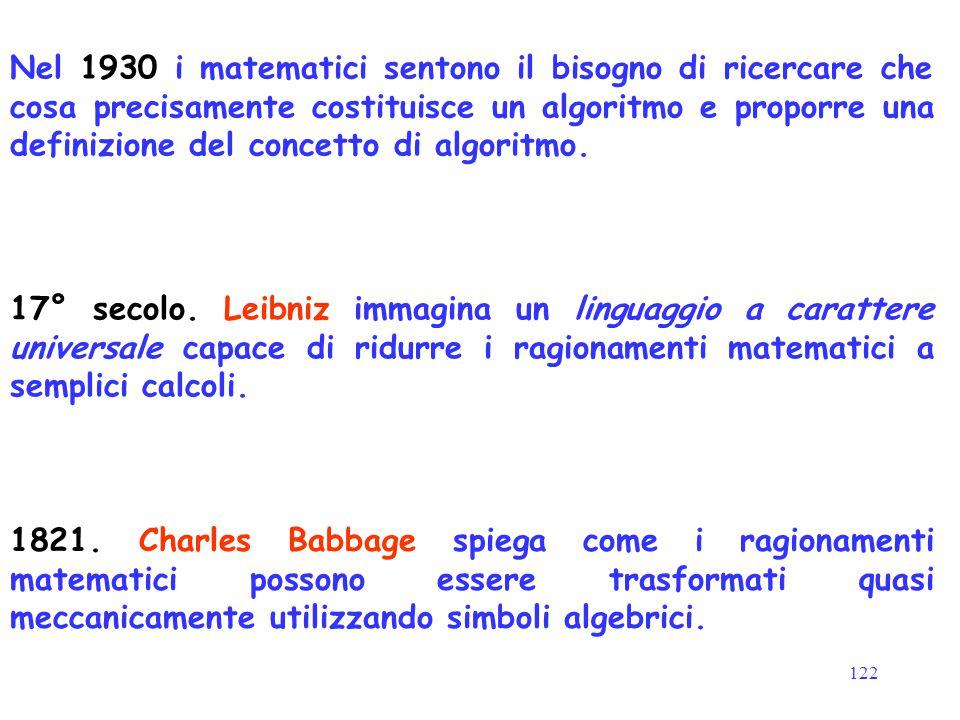 122 17° secolo. Leibniz immagina un linguaggio a carattere universale capace di ridurre i ragionamenti matematici a semplici calcoli. 1821. Charles Ba