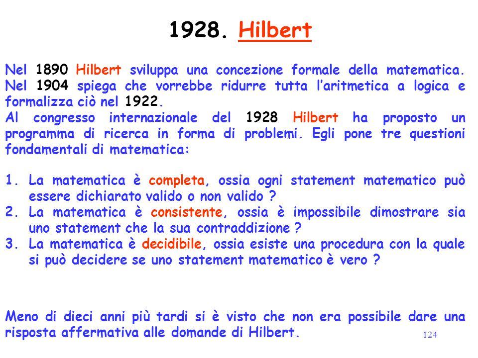 124 Nel 1890 Hilbert sviluppa una concezione formale della matematica. Nel 1904 spiega che vorrebbe ridurre tutta l'aritmetica a logica e formalizza c