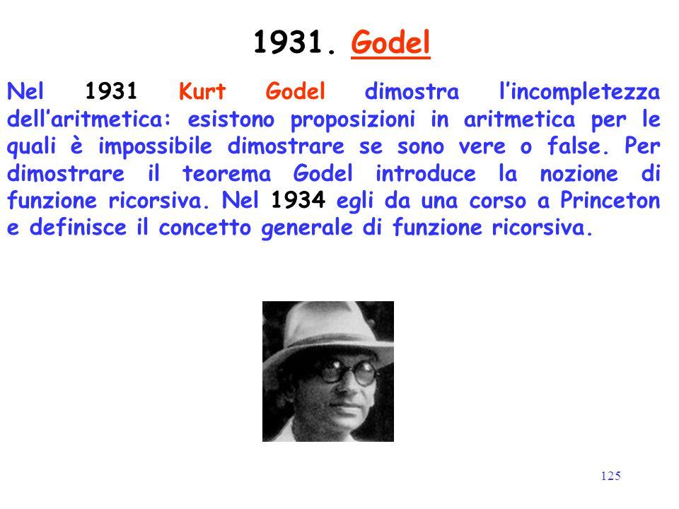 125 Nel 1931 Kurt Godel dimostra l'incompletezza dell'aritmetica: esistono proposizioni in aritmetica per le quali è impossibile dimostrare se sono ve