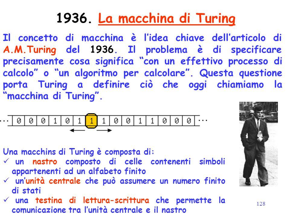 """128 Il concetto di macchina è l'idea chiave dell'articolo di A.M.Turing del 1936. Il problema è di specificare precisamente cosa significa """"con un eff"""