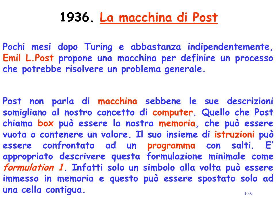 129 Pochi mesi dopo Turing e abbastanza indipendentemente, Emil L.Post propone una macchina per definire un processo che potrebbe risolvere un problem