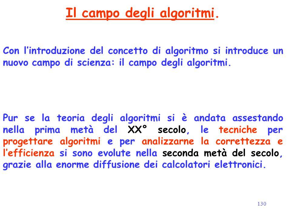 130 Il campo degli algoritmi. Con l'introduzione del concetto di algoritmo si introduce un nuovo campo di scienza: il campo degli algoritmi. Pur se la