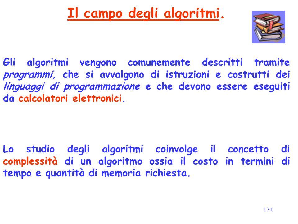 131 Il campo degli algoritmi. Gli algoritmi vengono comunemente descritti tramite programmi, che si avvalgono di istruzioni e costrutti dei linguaggi