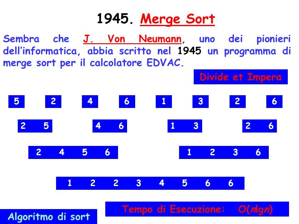 132 1945. Merge SortMerge Sort Sembra che J. Von Neumann, uno dei pionieri dell'informatica, abbia scritto nel 1945 un programma di merge sort per il