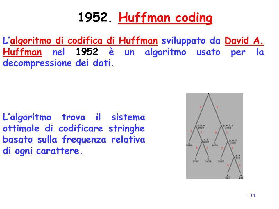 134 L'algoritmo di codifica di Huffman sviluppato da David A. Huffman nel 1952 è un algoritmo usato per la decompressione dei dati.algoritmo di codifi