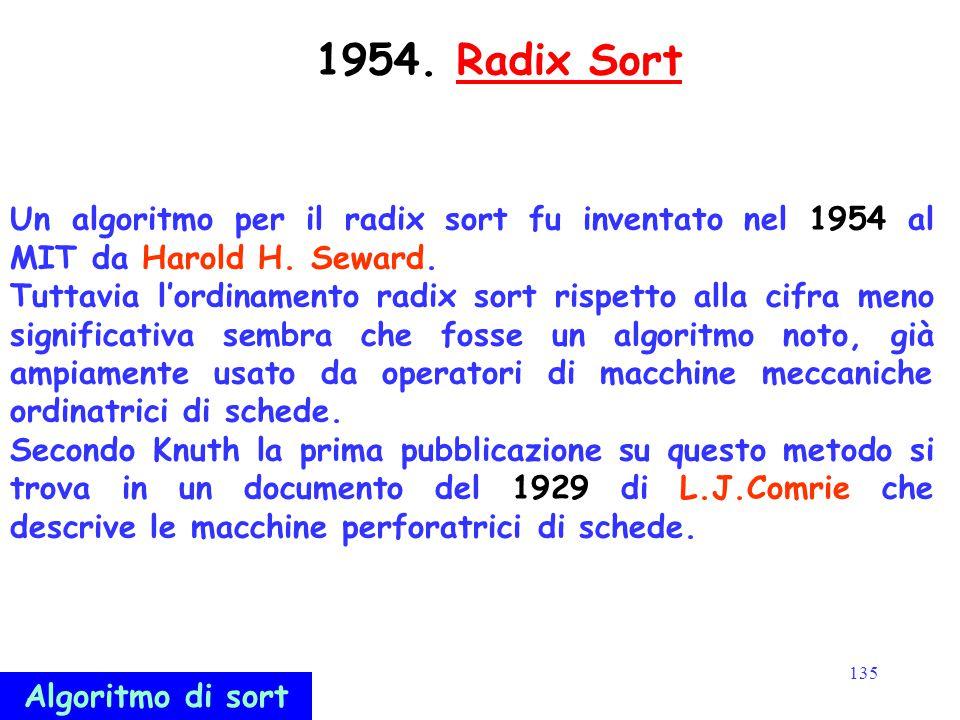 135 1954. Radix SortRadix Sort Un algoritmo per il radix sort fu inventato nel 1954 al MIT da Harold H. Seward. Tuttavia l'ordinamento radix sort risp