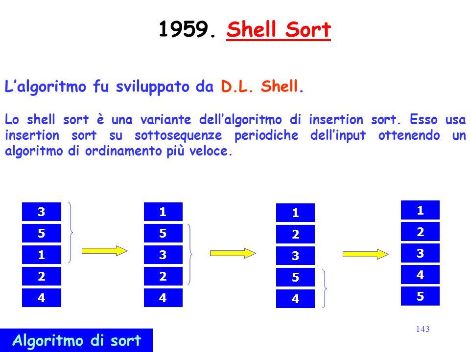 143 1959. Shell SortShell Sort L'algoritmo fu sviluppato da D.L. Shell. Lo shell sort è una variante dell'algoritmo di insertion sort. Esso usa insert